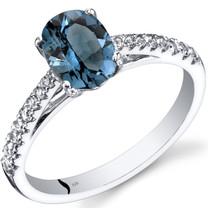 14K White Gold London Blue Topaz Ring Oval Cut 1.25 Carats