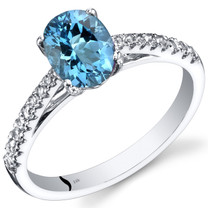 14K White Gold Swiss Blue Topaz Ring Oval Cut 1.25 Carats