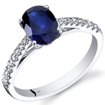 14K White Gold Created Sapphire Ring Oval Cut 1.50 Carats