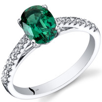 14K White Gold Created Emerald Ring Oval Cut 1.25 Carats