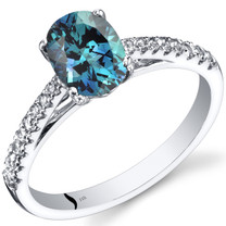 14K White Gold Created Alexandrite Ring Oval Cut 1.50 Carats