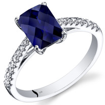 14K White Gold Created Sapphire Ring Radiant 2.00 Carats