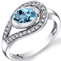 14K White Gold Swiss Blue Topaz Diamond Infinity Ring  1.22 Carats Total