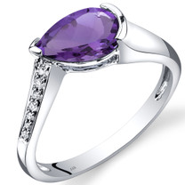 14K White Gold Amethyst Diamond Tear Drop Ring 1.04 Carats Total