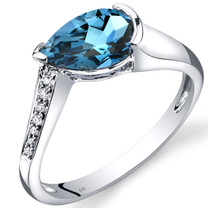 14K White Gold London Blue Topaz Diamond Tear Drop Ring 1.54 Carats Total