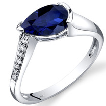14K White Gold Created Blue Sapphire Diamond Tear Drop Ring 1.54 Carats Total