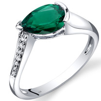 14K White Gold Created Emerald Diamond Tear Drop Ring 1.04 Carats Total