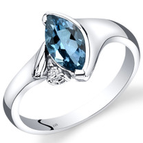 14K White Gold London Blue Topaz Diamond Ring Marquise Bezel Set 1.03 Carats Total