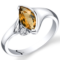 14K White Gold Citrine Diamond Ring Marquise Bezel Set 1.03 Carats Total