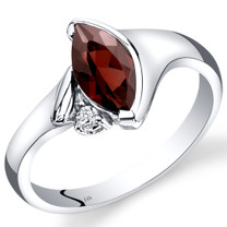 14K White Gold Garnet Diamond Ring Marquise Bezel Set 1.28 Carats Total