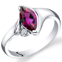 14K White Gold Created Ruby Diamond Ring Marquise Bezel Set 1.28 Carats Total