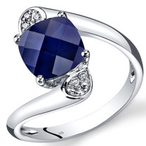 14K White Gold Created Blue Sapphire Diamond Bypass Ring Cushion Cut 3.08 Carats Total