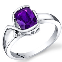 14K White Gold Amethyst Diamond Bezel Ring  1.26 Carats Total