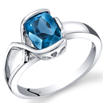 14K White Gold London Blue Topaz Diamond Bezel Ring  1.51 Carats Total