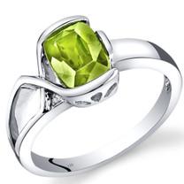14K White Gold Peridot Diamond Bezel Ring  1.26 Carats Total