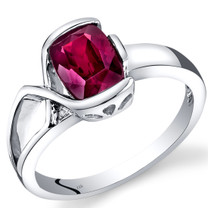 14K White Gold Created Ruby Diamond Bezel Ring  1.76 Carats Total