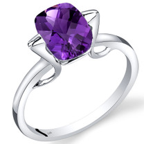 14K White Gold Amethyst Minmalistic Solitaire Ring  1.75 Carats