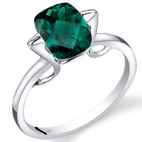 14K White Gold Created Emerald Minmalistic Solitaire Ring  2 Carats