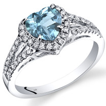 14K White Gold Swiss Blue Topaz Diamond Halo Ring Heart Shape 1.90 Carats Total