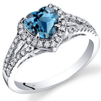 14K White Gold London Blue Topaz Diamond Halo Ring Heart Shape 1.90 Carats Total