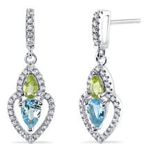 Swiss Blue Topaz and Peridot Earrings Sterling Silver Pear Shape 1.50 Carats Total SE8528
