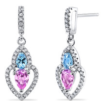 Created Pink Sapphire and Swiss Blue Topaz Earrings Sterling Silver Pear Shape 1.50 Carats Total SE8530