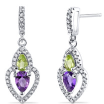 Amethyst and Peridot Earrings Sterling Silver Pear Shape 1.00 Carats Total SE8532