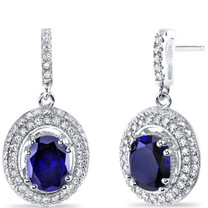 Created Sapphire Halo Dangle Earrings Sterling Silver 3.50 Carats Total SE8540