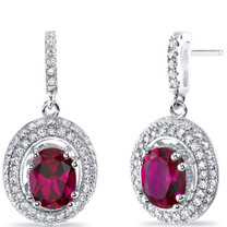Created Ruby Halo Dangle Earrings Sterling Silver 3.50 Carats Total SE8542