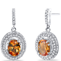 Created Padparadscha Sapphire Halo Dangle Earrings Sterling Silver 3.00 Carats Total SE8548