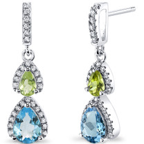 Swiss Blue Topaz and Peridot Open Halo Earrings Sterling Silver 2 Stone 2.00 Carats Total SE8552