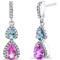 Created Pink Sapphire and Swiss Blue Topaz Open Halo Earrings Sterling Silver 2 Stone 2.50 Carats Total SE8554