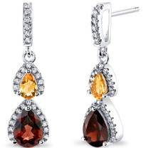 Garnet and Citrine Open Halo Earrings Sterling Silver 2 Stone 2.50 Carats Total SE8556