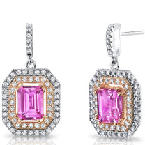 4.00 Carats Created Pink Sapphire Rose Gold-Tone Earrings Sterling Silver SE8560