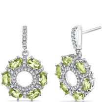 Peridot Wreath Earrings Sterling Silver Oval Cut 3.00 Carats Total SE8566