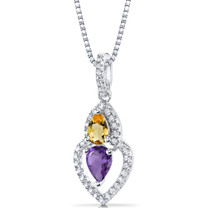Amethyst and Citrine Pendant Necklace Sterling Silver Pear Shape 0.75 Carats Total  SP11146