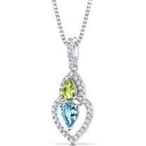 Swiss Blue Topaz and Peridot Pendant Necklace Sterling Silver Pear Shape 1.25 Carats Total  SP11148