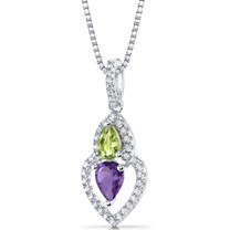 Amethyst and Peridot Pendant Necklace Sterling Silver Pear Shape 1.00 Carats Total SP11152