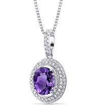 Amethyst Halo Pendant Necklace Sterling Silver 2.50 Carats  SP11154