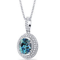 Simulated Alexandrite Halo Pendant Necklace Sterling Silver 3.75 Carats SP11166