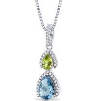 Swiss Blue Topaz and Peridot Open Halo Pendant Necklace Sterling Silver 2 Stone 1.75 Carats Total SP11172