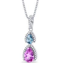 Created Pink Sapphire and Swiss Blue Topaz Open Halo Pendant Necklace Sterling Silver 2 Stone 2.25 Carats Total SP11174