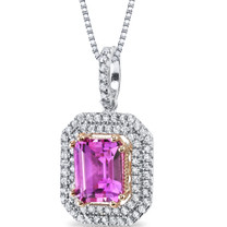 4.50 Carats Created Pink Sapphire Pendant Necklace Sterling Silver Emerald Cut SP11180