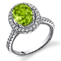 Peridot Halo Milgrain Ring Sterling Silver 2.00 Carats Sizes 5 to 9 SR11338