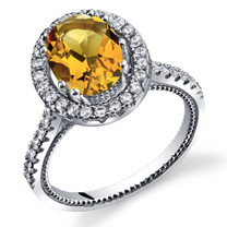 Citrine Halo Milgrain Ring Sterling Silver 1.75 Carats Sizes 5 to 9 SR11340