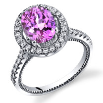 Created Pink Sapphire Halo Milgrain Ring Sterling Silver 2.50 Carats Sizes 5 to 9 SR11348