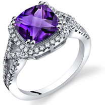 Amethyst Cushion Cut Checkerboard Ring Sterling Silver 2.00 Carats Sizes 5 to 9 SR11354