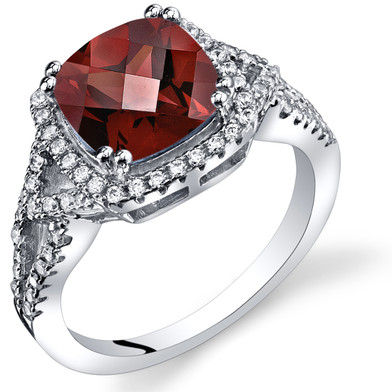 Garnet Cushion Cut Checkerboard Ring Sterling Silver 2.50 Carats Sizes 5 to 9 SR11356