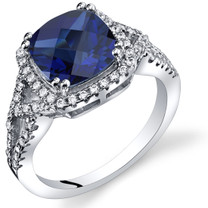 Created Sapphire Cushion Cut Checkerboard Ring Sterling Silver 3.00 Carats Sizes 5 to 9 SR11362