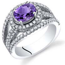 Amethyst Lateral Halo Ring Sterling Silver 1.00 Carat Sizes 5 to 9 SR11366